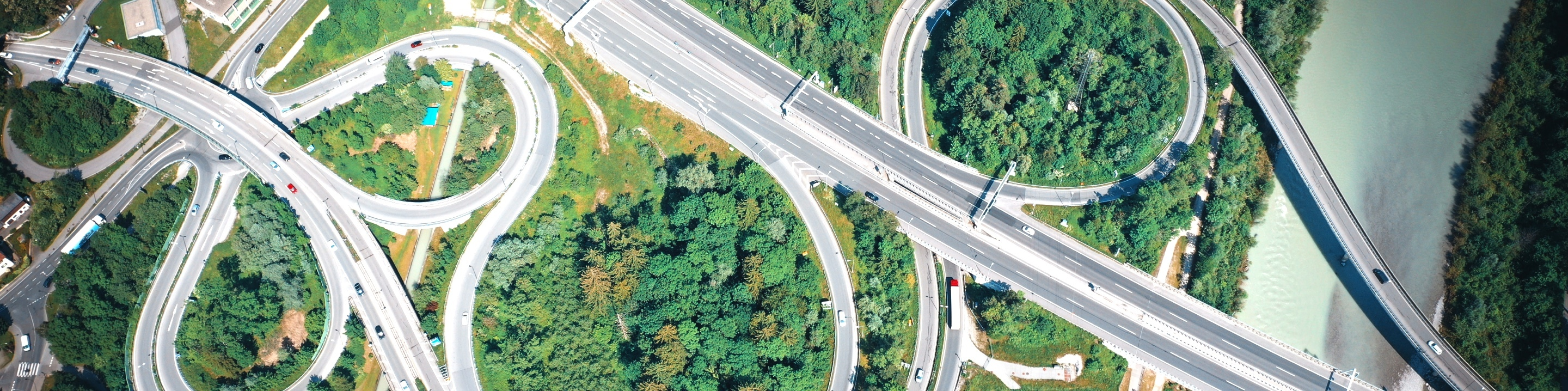 Bird's-eye view of a highway system